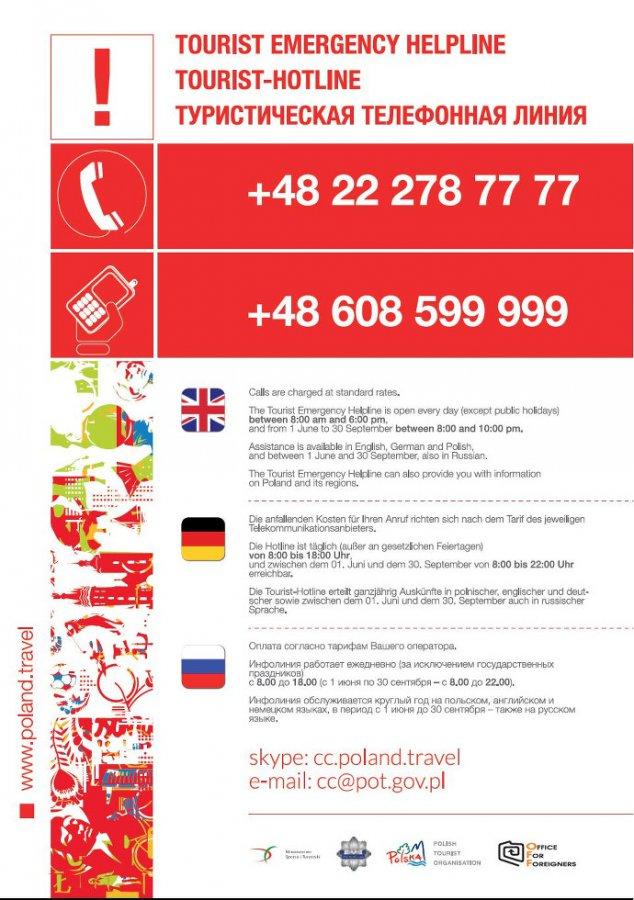 Telefon bezpieczeństwa dla zagranicznych turystów